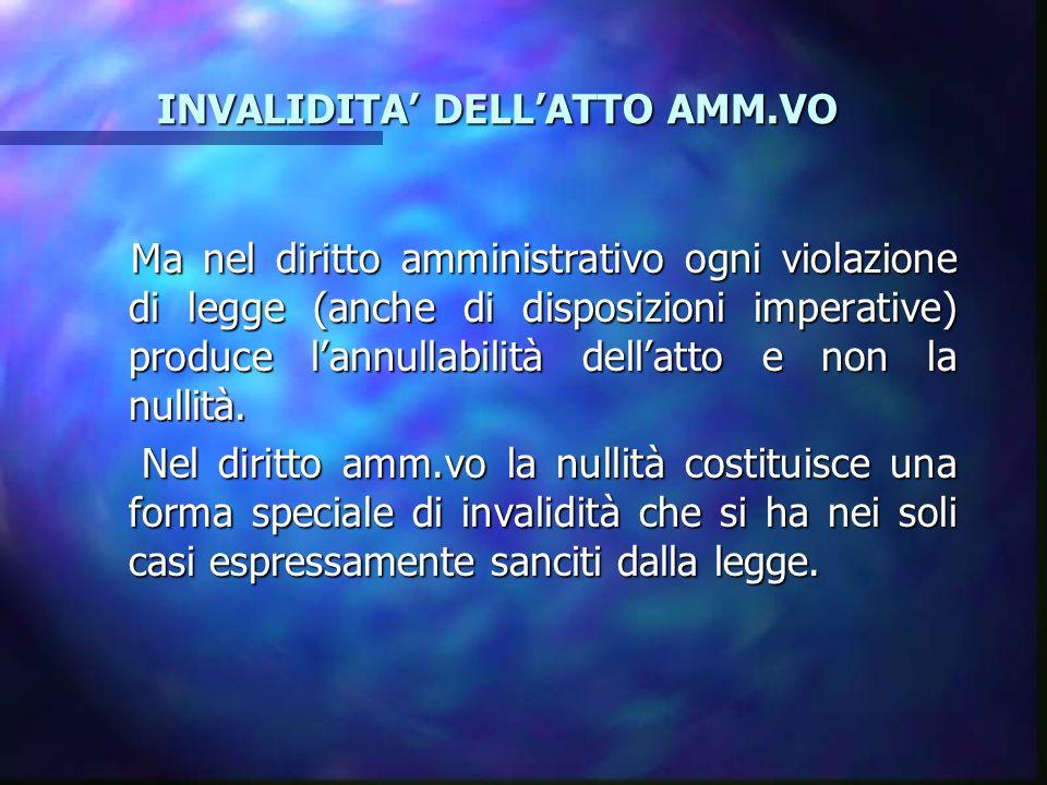 LANNULLABILITA LANNULLABILITA 2) INCOMPETENZA: c) per territorio (provv.to del sindaco di Roma invece che del Sindaco di Monterotondo; d) per valore (provv.to emanato da un funzionario oltre i limiti di importo imposti alla sua qualifica).