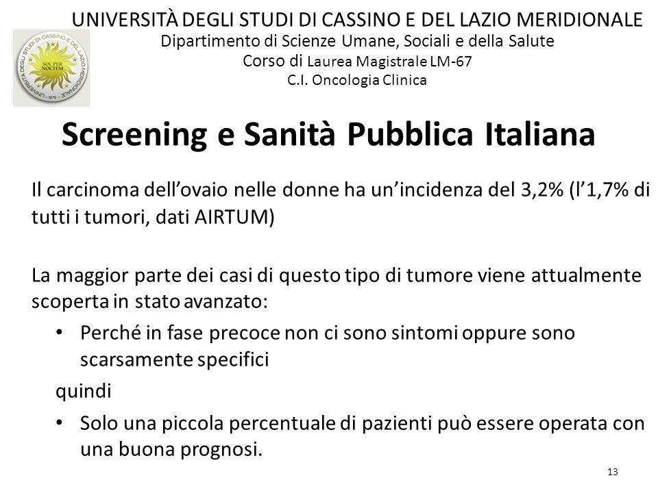 13 Screening e Sanità Pubblica Italiana Il carcinoma dellovaio nelle donne ha unincidenza del 3,2% (l1,7% di tutti i tumori, dati AIRTUM) La maggior p