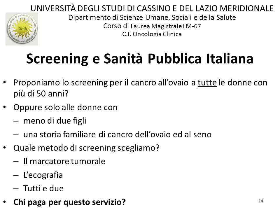 14 Screening e Sanità Pubblica Italiana Proponiamo lo screening per il cancro allovaio a tutte le donne con più di 50 anni? Oppure solo alle donne con