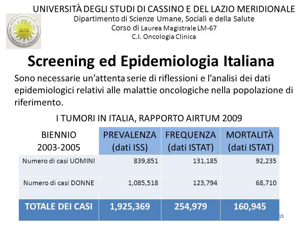 15 Screening ed Epidemiologia Italiana Sono necessarie unattenta serie di riflessioni e lanalisi dei dati epidemiologici relativi alle malattie oncolo