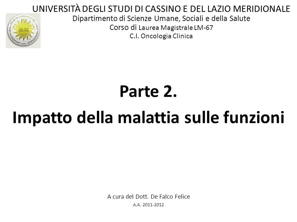 Parte 2. Impatto della malattia sulle funzioni A cura del Dott. De Falco Felice A.A. 2011-2012 UNIVERSITÀ DEGLI STUDI DI CASSINO E DEL LAZIO MERIDIONA