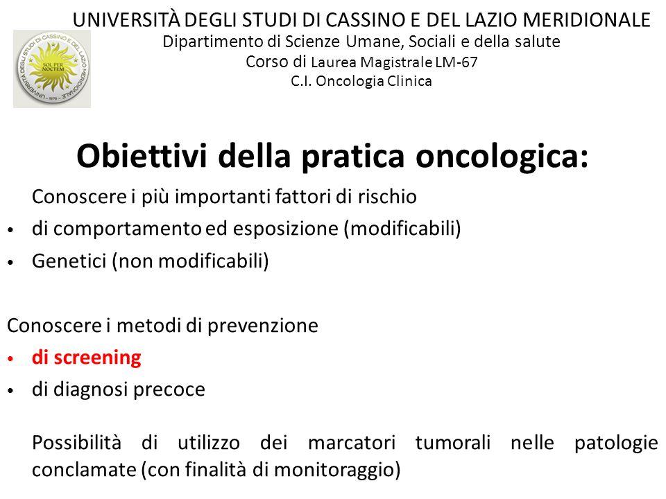 Obiettivi della pratica oncologica: Conoscere i più importanti fattori di rischio di comportamento ed esposizione (modificabili) Genetici (non modific