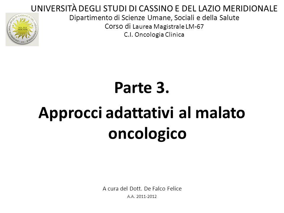 Parte 3. Approcci adattativi al malato oncologico A cura del Dott. De Falco Felice A.A. 2011-2012 UNIVERSITÀ DEGLI STUDI DI CASSINO E DEL LAZIO MERIDI