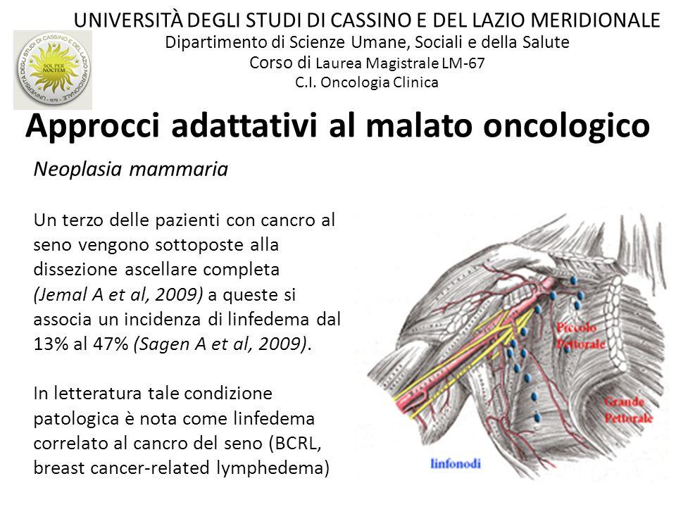 Approcci adattativi al malato oncologico Neoplasia mammaria Un terzo delle pazienti con cancro al seno vengono sottoposte alla dissezione ascellare co