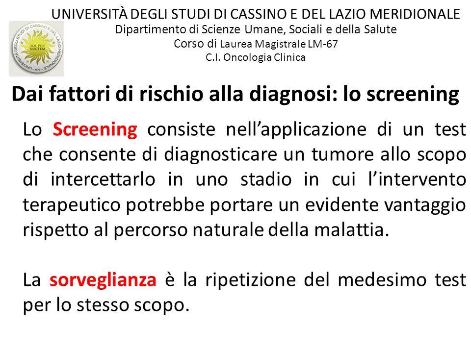 Lo Screening consiste nellapplicazione di un test che consente di diagnosticare un tumore allo scopo di intercettarlo in uno stadio in cui lintervento