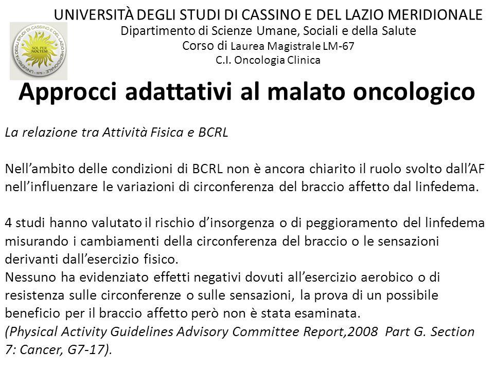 Approcci adattativi al malato oncologico La relazione tra Attività Fisica e BCRL Nellambito delle condizioni di BCRL non è ancora chiarito il ruolo sv