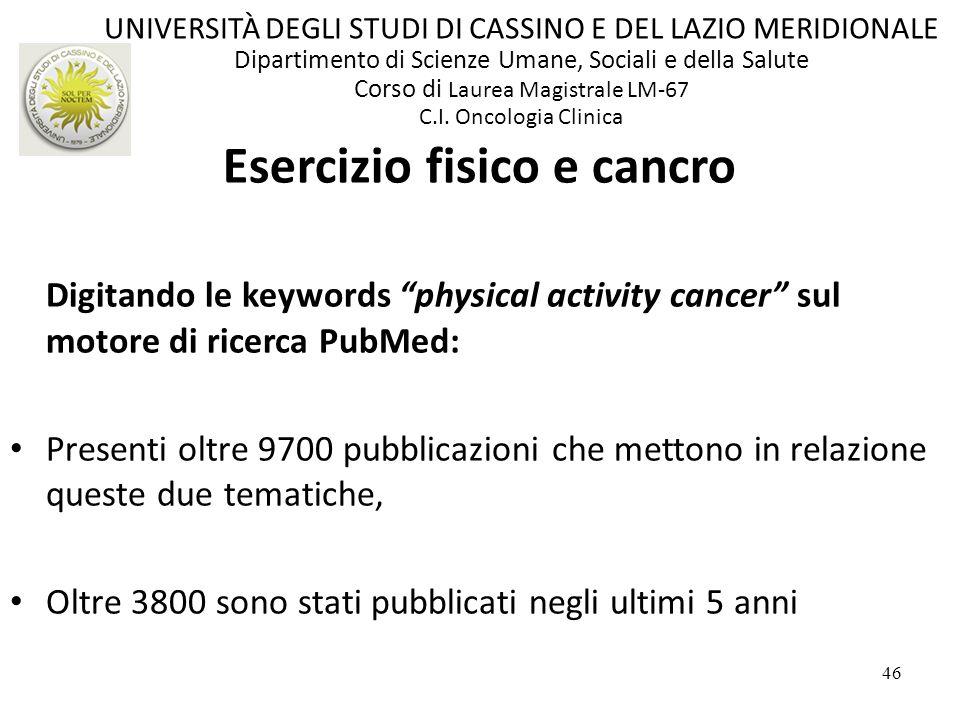 46 Digitando le keywords physical activity cancer sul motore di ricerca PubMed: Presenti oltre 9700 pubblicazioni che mettono in relazione queste due