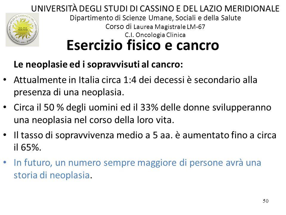 50 Le neoplasie ed i sopravvisuti al cancro: Attualmente in Italia circa 1:4 dei decessi è secondario alla presenza di una neoplasia. Circa il 50 % de