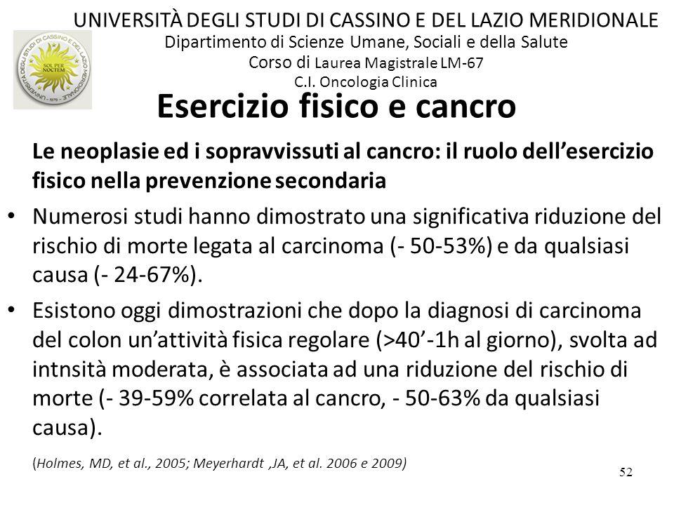 52 Le neoplasie ed i sopravvissuti al cancro: il ruolo dellesercizio fisico nella prevenzione secondaria Numerosi studi hanno dimostrato una significa