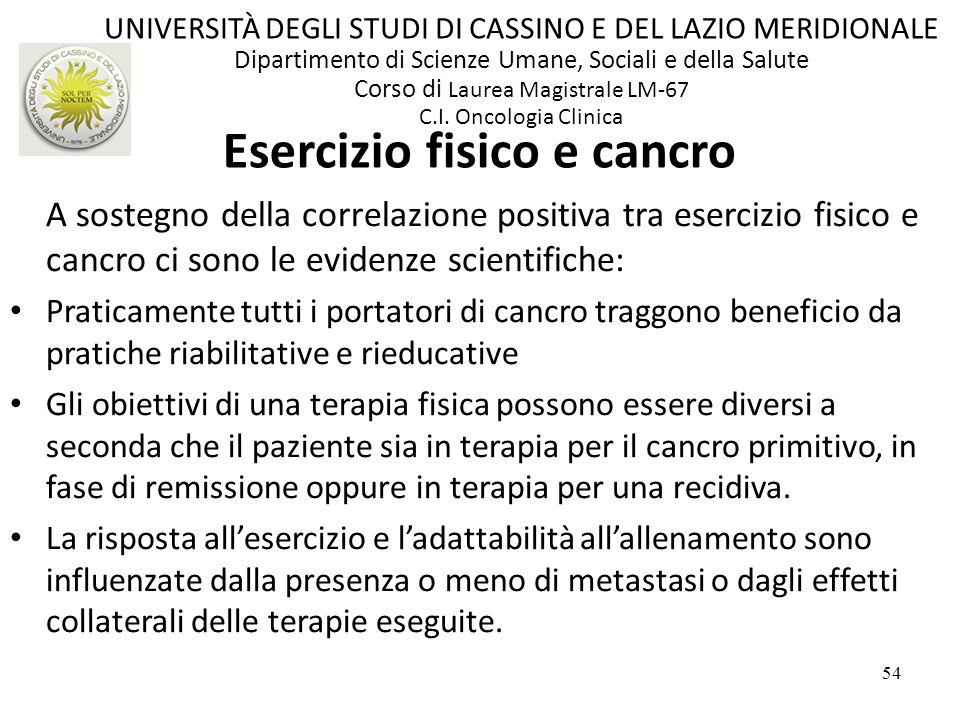 54 A sostegno della correlazione positiva tra esercizio fisico e cancro ci sono le evidenze scientifiche: Praticamente tutti i portatori di cancro tra