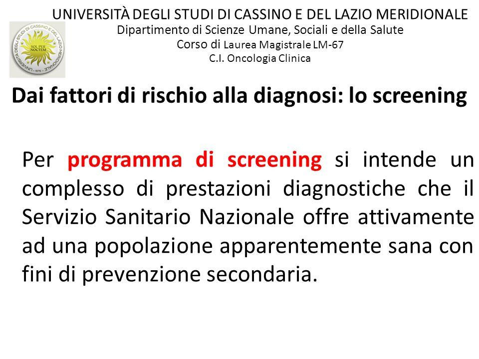Dai fattori di rischio alla diagnosi: lo screening Per programma di screening si intende un complesso di prestazioni diagnostiche che il Servizio Sani
