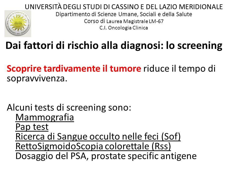 Scoprire tardivamente il tumore riduce il tempo di sopravvivenza. Alcuni tests di screening sono: Mammografia Pap test Ricerca di Sangue occulto nelle