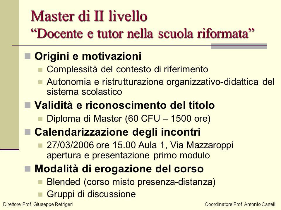 Master di II livello Docente e tutor nella scuola riformata Origini e motivazioni Complessità del contesto di riferimento Autonomia e ristrutturazione