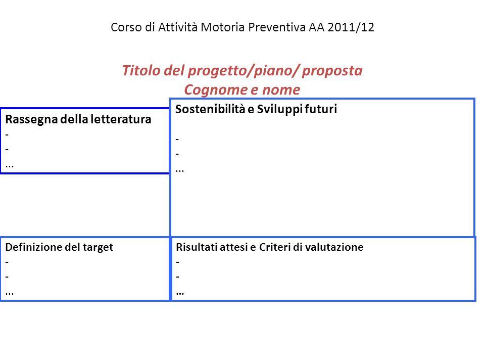 Corso di Attività Motoria Preventiva AA 2011/12 Titolo del progetto/piano/ proposta Cognome e nome Rassegna della letteratura -... Definizione del tar