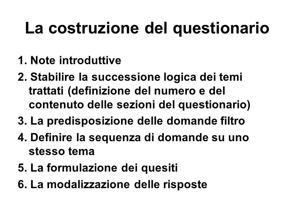 Le successioni: gli stili La successione a imbuto : si passa da domande generali a domande particolari per dare tempo al rispondente di focalizzare lattenzione sul tema proposto.