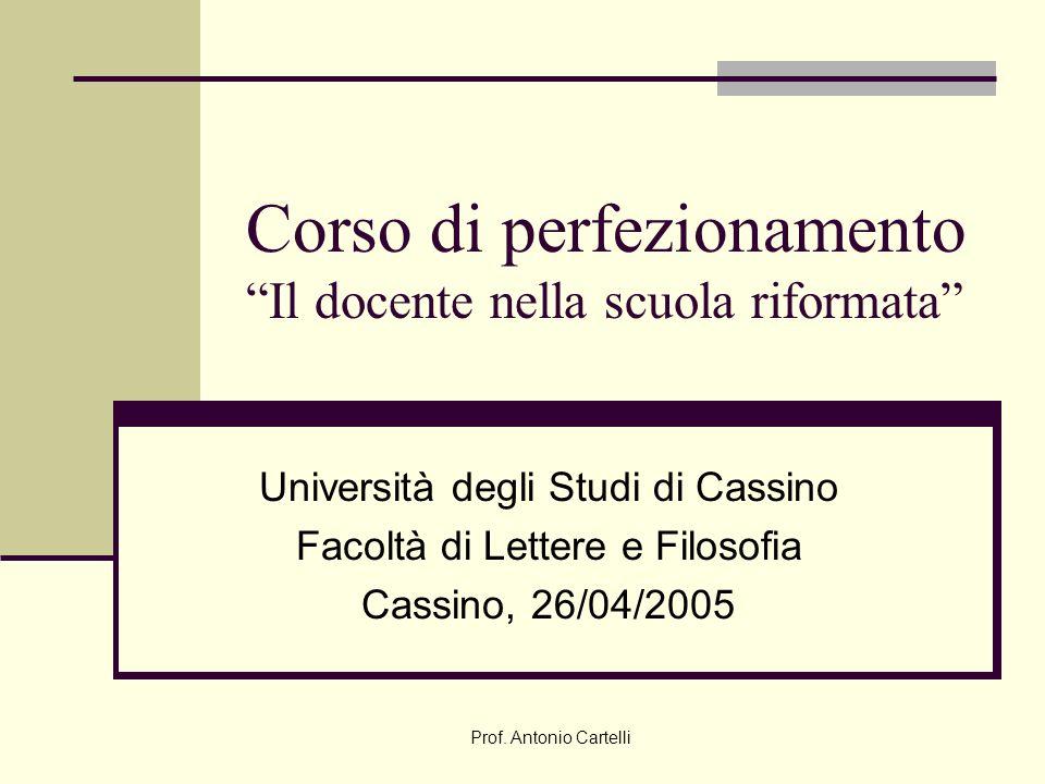 Corso di perfezionamento Il docente nella scuola riformata Università degli Studi di Cassino Facoltà di Lettere e Filosofia Cassino, 26/04/2005 Prof.