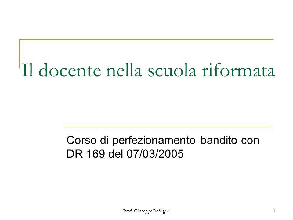 Prof. Giuseppe Refrigeri1 Il docente nella scuola riformata Corso di perfezionamento bandito con DR 169 del 07/03/2005