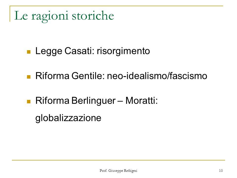 Prof. Giuseppe Refrigeri 10 Le ragioni storiche Legge Casati: risorgimento Riforma Gentile: neo-idealismo/fascismo Riforma Berlinguer – Moratti: globa