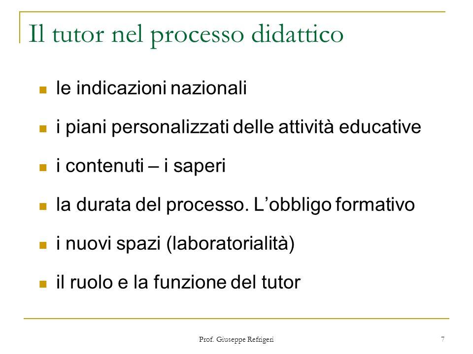 Prof. Giuseppe Refrigeri 7 Il tutor nel processo didattico le indicazioni nazionali i piani personalizzati delle attività educative i contenuti – i sa