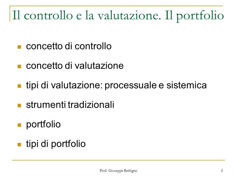 Prof. Giuseppe Refrigeri 8 Il controllo e la valutazione. Il portfolio concetto di controllo concetto di valutazione tipi di valutazione: processuale