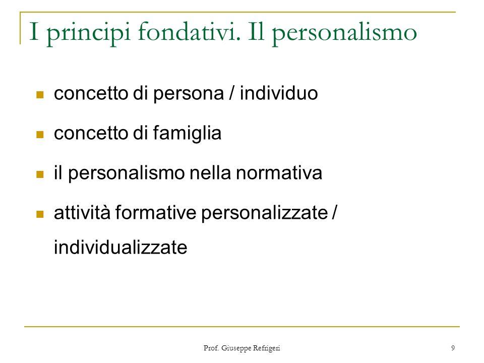 Prof. Giuseppe Refrigeri 9 I principi fondativi. Il personalismo concetto di persona / individuo concetto di famiglia il personalismo nella normativa