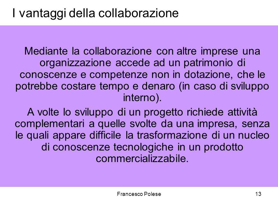 Francesco Polese13 I vantaggi della collaborazione Mediante la collaborazione con altre imprese una organizzazione accede ad un patrimonio di conoscenze e competenze non in dotazione, che le potrebbe costare tempo e denaro (in caso di sviluppo interno).