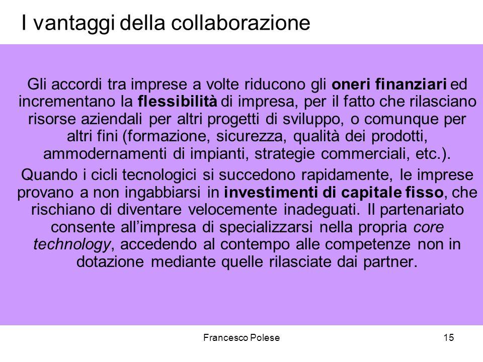Francesco Polese15 I vantaggi della collaborazione Gli accordi tra imprese a volte riducono gli oneri finanziari ed incrementano la flessibilità di im