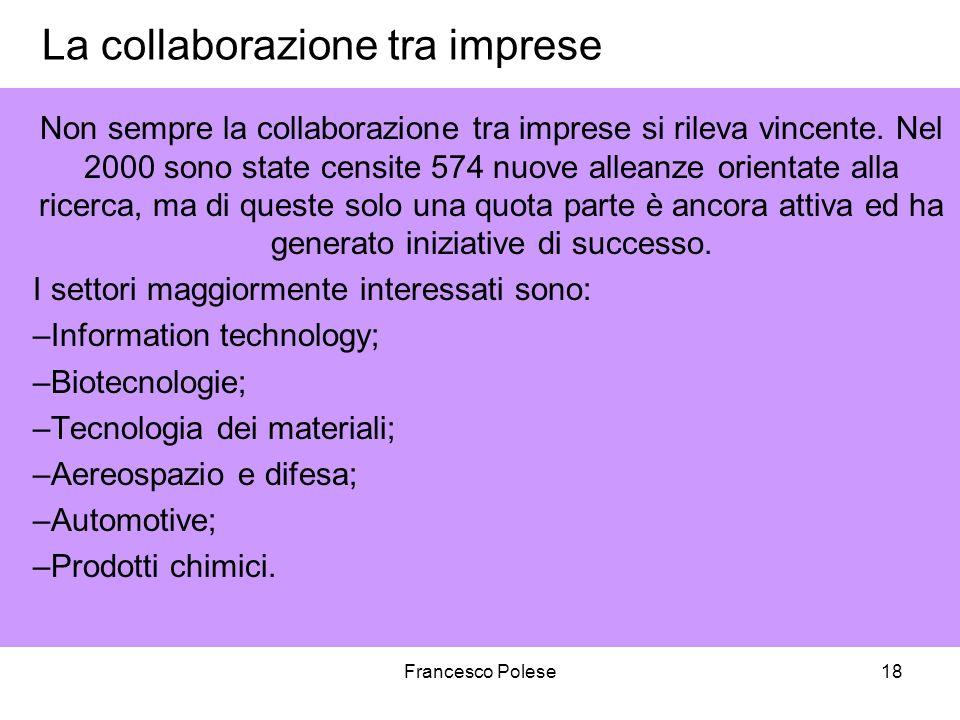 Francesco Polese18 La collaborazione tra imprese Non sempre la collaborazione tra imprese si rileva vincente. Nel 2000 sono state censite 574 nuove al