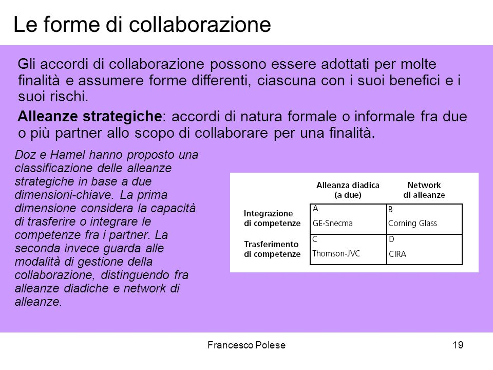 Francesco Polese19 Gli accordi di collaborazione possono essere adottati per molte finalità e assumere forme differenti, ciascuna con i suoi benefici e i suoi rischi.