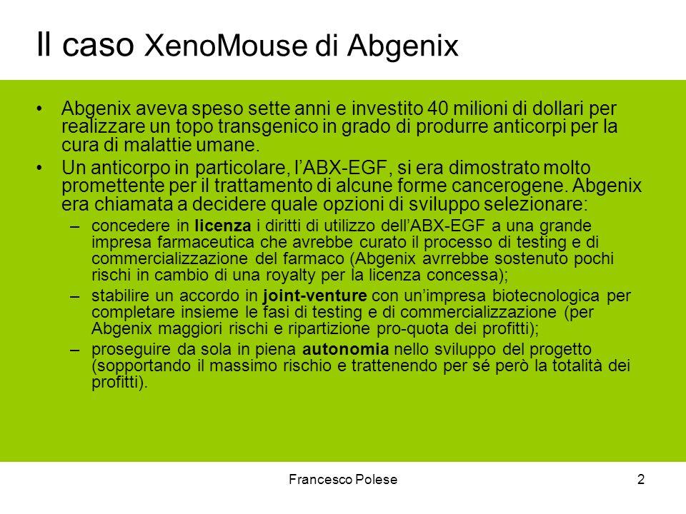 Francesco Polese2 Il caso XenoMouse di Abgenix Abgenix aveva speso sette anni e investito 40 milioni di dollari per realizzare un topo transgenico in grado di produrre anticorpi per la cura di malattie umane.
