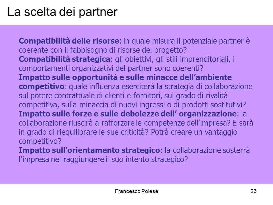 Francesco Polese23 La scelta dei partner Compatibilità delle risorse: in quale misura il potenziale partner è coerente con il fabbisogno di risorse del progetto.