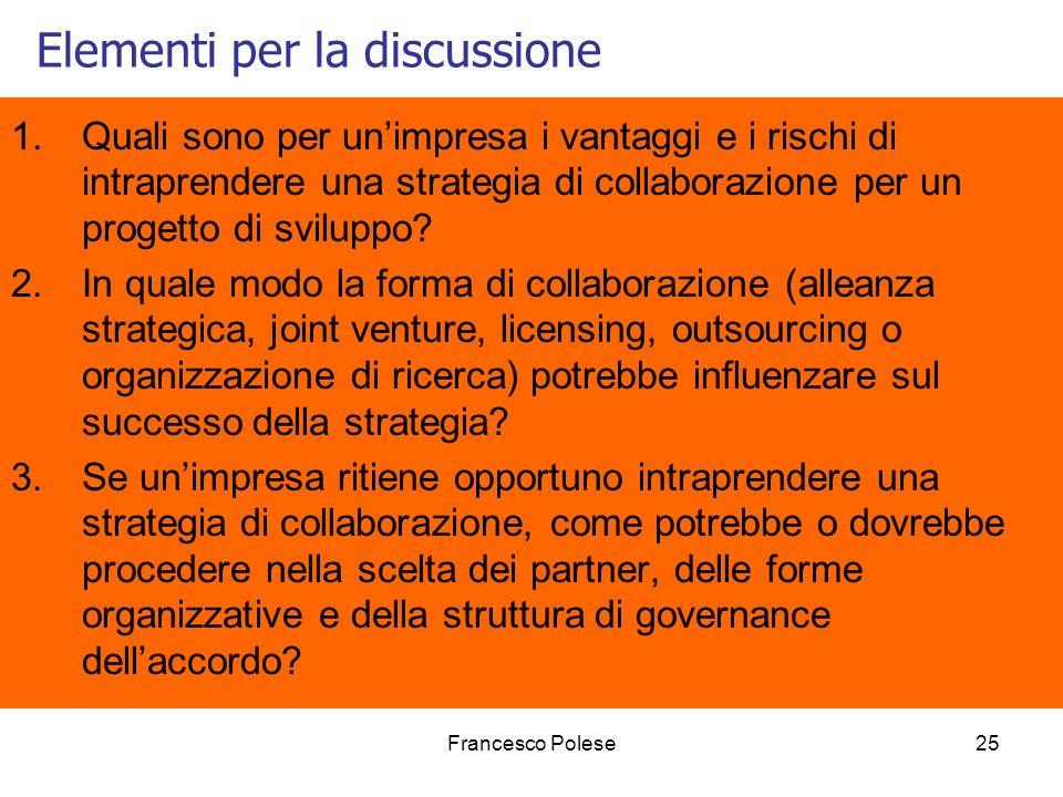 Francesco Polese25 Elementi per la discussione 1.Quali sono per unimpresa i vantaggi e i rischi di intraprendere una strategia di collaborazione per un progetto di sviluppo.