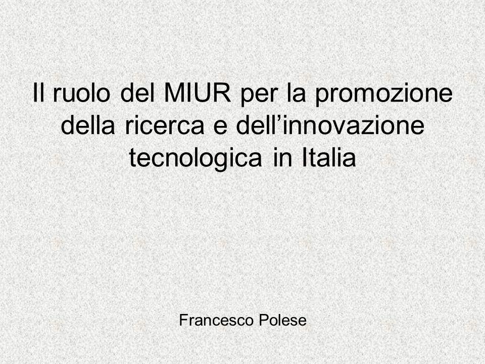 Il ruolo del MIUR per la promozione della ricerca e dellinnovazione tecnologica in Italia Francesco Polese