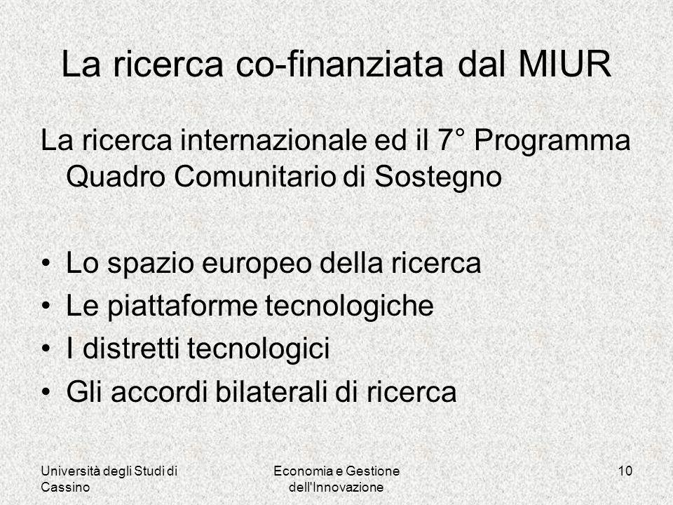 Università degli Studi di Cassino Economia e Gestione dell Innovazione 10 La ricerca co-finanziata dal MIUR La ricerca internazionale ed il 7° Programma Quadro Comunitario di Sostegno Lo spazio europeo della ricerca Le piattaforme tecnologiche I distretti tecnologici Gli accordi bilaterali di ricerca