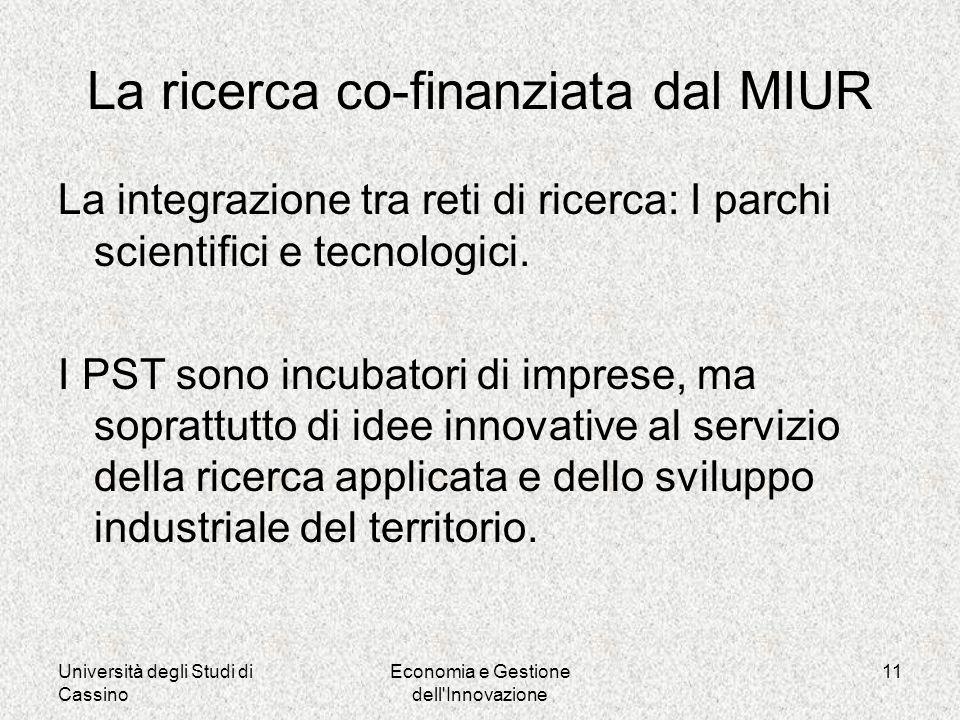 Università degli Studi di Cassino Economia e Gestione dell Innovazione 11 La ricerca co-finanziata dal MIUR La integrazione tra reti di ricerca: I parchi scientifici e tecnologici.