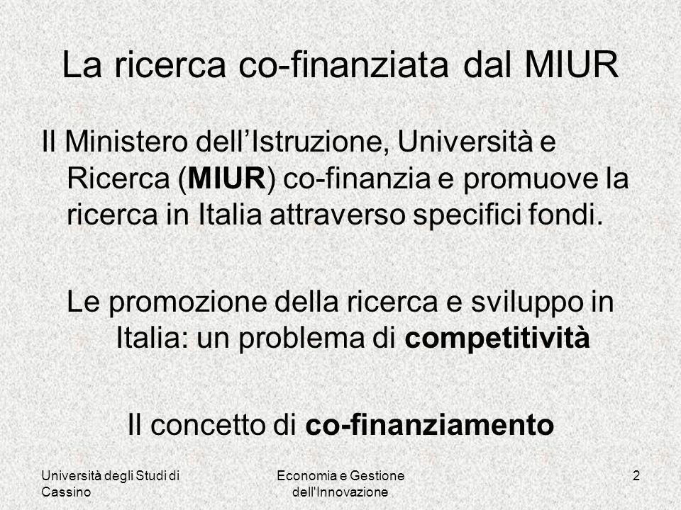 Università degli Studi di Cassino Economia e Gestione dell Innovazione 2 La ricerca co-finanziata dal MIUR Il Ministero dellIstruzione, Università e Ricerca (MIUR) co-finanzia e promuove la ricerca in Italia attraverso specifici fondi.