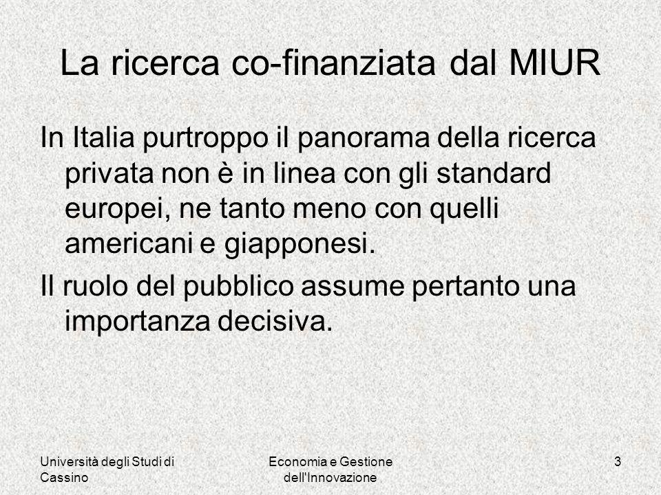 Università degli Studi di Cassino Economia e Gestione dell Innovazione 3 La ricerca co-finanziata dal MIUR In Italia purtroppo il panorama della ricerca privata non è in linea con gli standard europei, ne tanto meno con quelli americani e giapponesi.