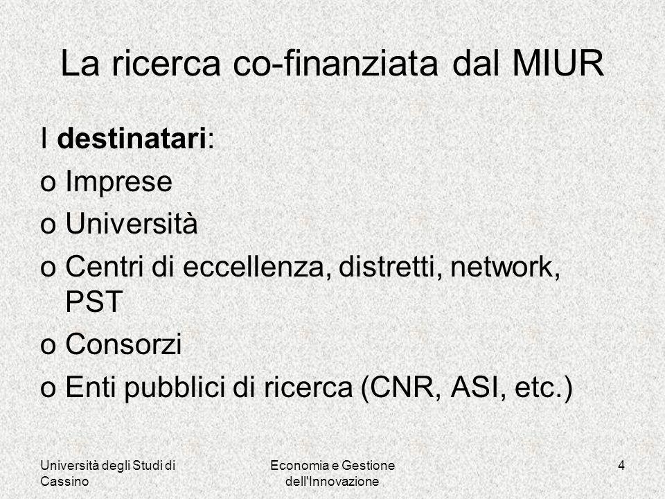 Università degli Studi di Cassino Economia e Gestione dell Innovazione 4 La ricerca co-finanziata dal MIUR I destinatari: oImprese oUniversità oCentri di eccellenza, distretti, network, PST oConsorzi oEnti pubblici di ricerca (CNR, ASI, etc.)