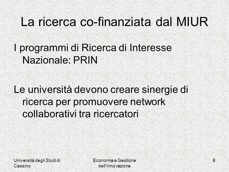 Università degli Studi di Cassino Economia e Gestione dell Innovazione 8 La ricerca co-finanziata dal MIUR I programmi di Ricerca di Interesse Nazionale: PRIN Le università devono creare sinergie di ricerca per promuovere network collaborativi tra ricercatori