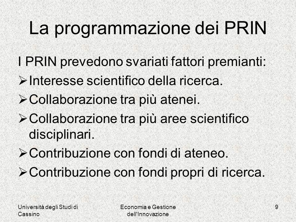 Università degli Studi di Cassino Economia e Gestione dell Innovazione 9 La programmazione dei PRIN I PRIN prevedono svariati fattori premianti: Interesse scientifico della ricerca.