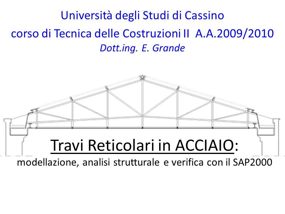 Travi Reticolari in ACCIAIO: modellazione, analisi strutturale e verifica con il SAP2000 Università degli Studi di Cassino corso di Tecnica delle Cost