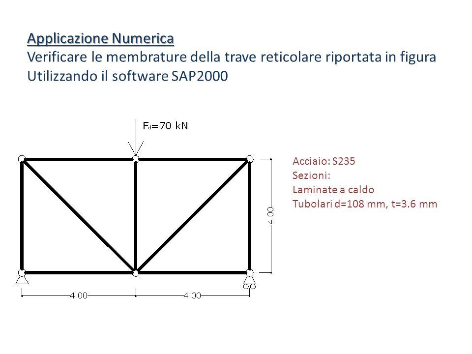 Applicazione Numerica Verificare le membrature della trave reticolare riportata in figura Utilizzando il software SAP2000 Acciaio: S235 Sezioni: Lamin