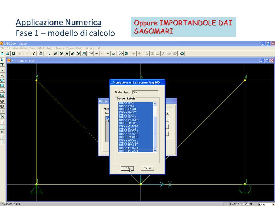 Applicazione Numerica Fase 1 – modello di calcolo Oppure IMPORTANDOLE DAI SAGOMARI