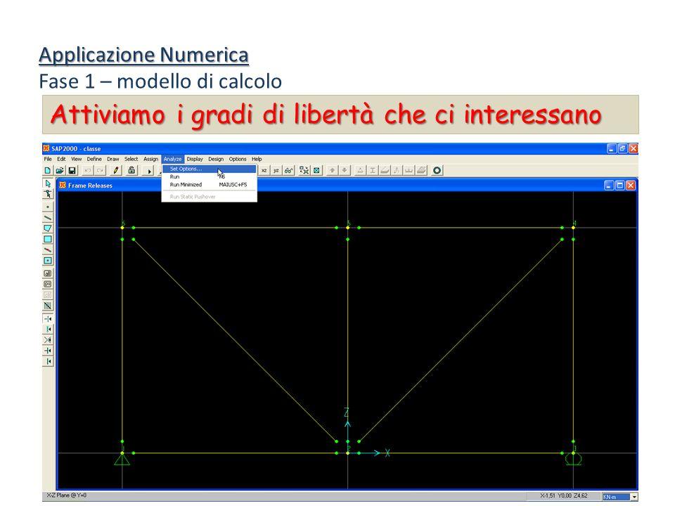Applicazione Numerica Fase 1 – modello di calcolo Attiviamo i gradi di libertà che ci interessano
