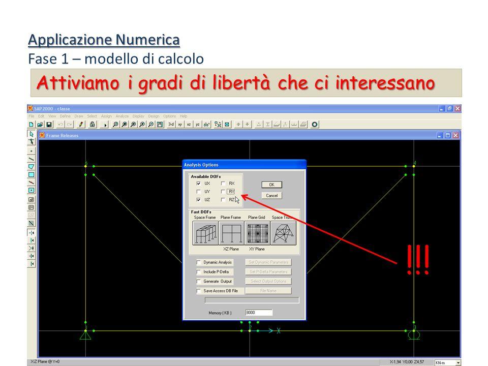 Applicazione Numerica Fase 1 – modello di calcolo Attiviamo i gradi di libertà che ci interessano !!!