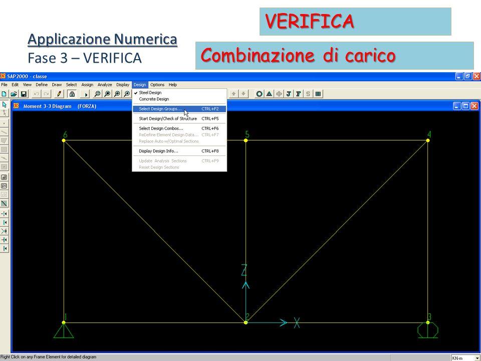Applicazione Numerica Fase 3 – VERIFICA VERIFICA Combinazione di carico
