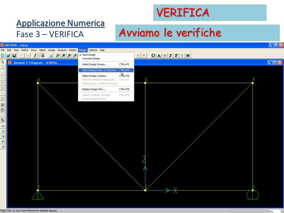 Applicazione Numerica Fase 3 – VERIFICA VERIFICA Avviamo le verifiche