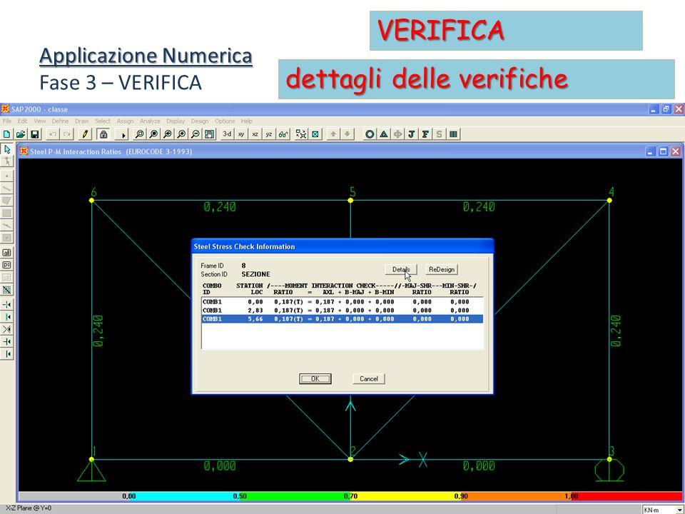 Applicazione Numerica Fase 3 – VERIFICA VERIFICA dettagli delle verifiche