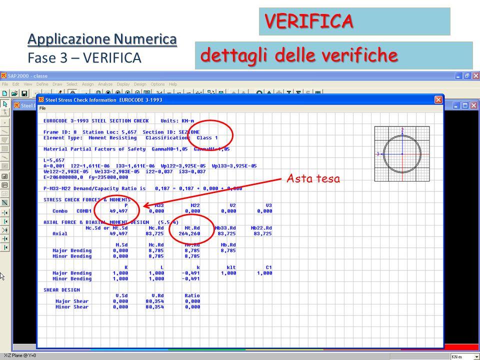 Applicazione Numerica Fase 3 – VERIFICA VERIFICA dettagli delle verifiche Asta tesa