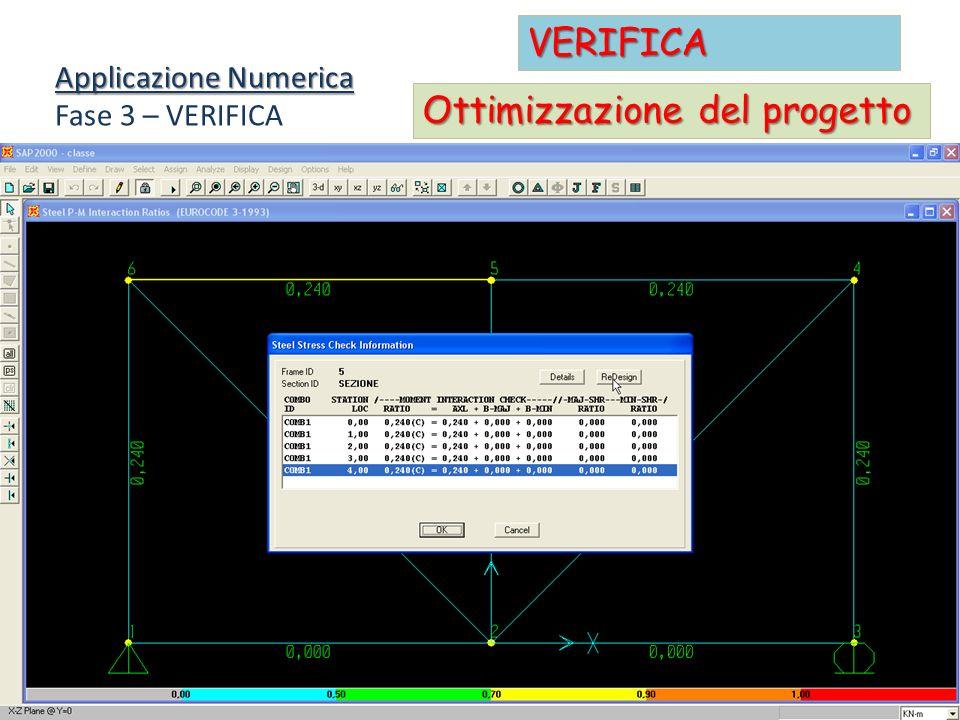Applicazione Numerica Fase 3 – VERIFICA VERIFICA Ottimizzazione del progetto